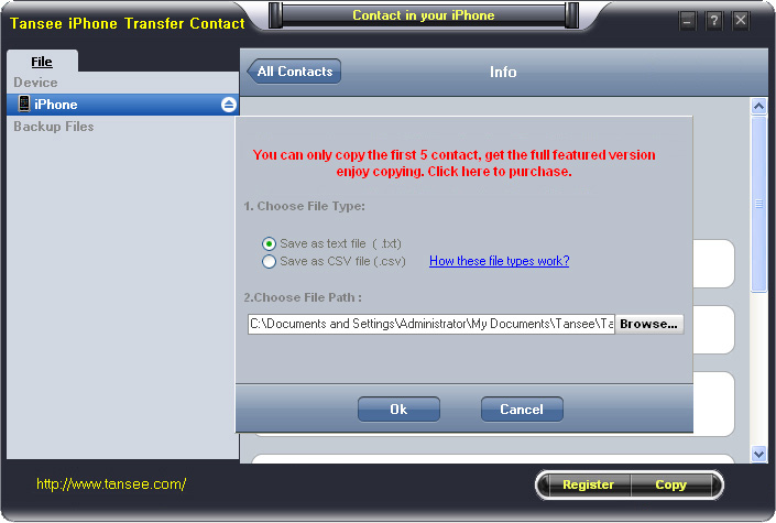 how to backup iphone contacts to pc
