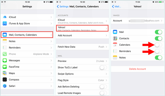 retrieve iphone reminders from email account